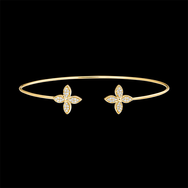 Bracelet Jonc Ouvert Éclosion - Double Chance - or jaune 9 carats et diamants