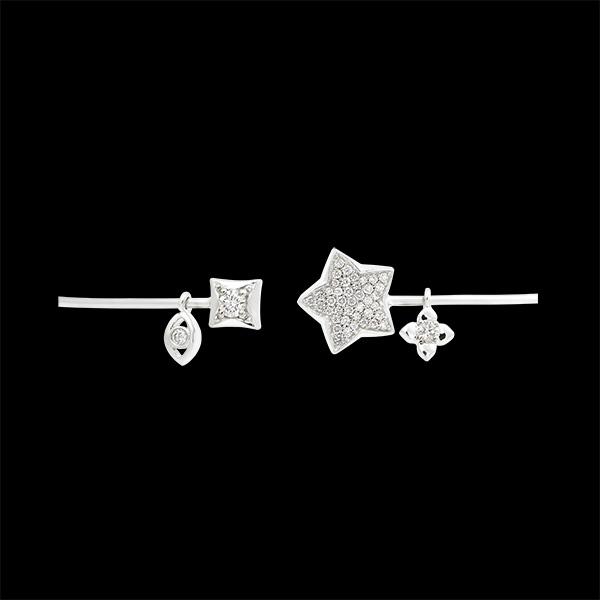 Bracelet Jonc Ouvert Fraîcheur - Toi et Moi La Bonne Étoile - or blanc 9 carats et diamants