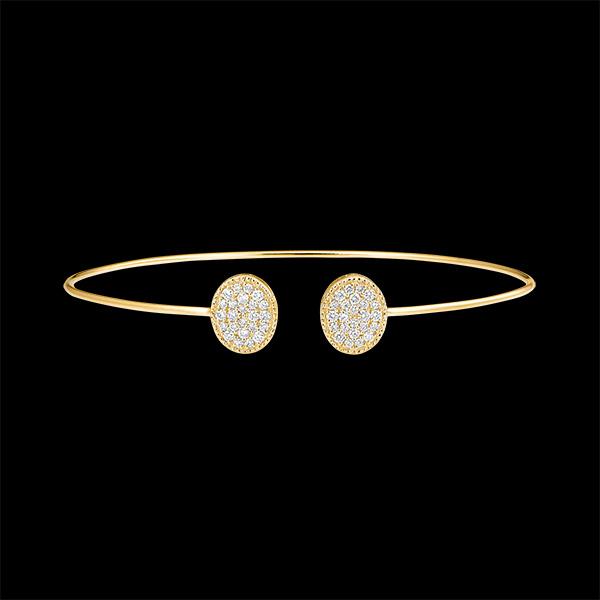 Bracelet Jonc Ouvert - Toi et Moi Ellipse - or jaune 9 carats et diamants