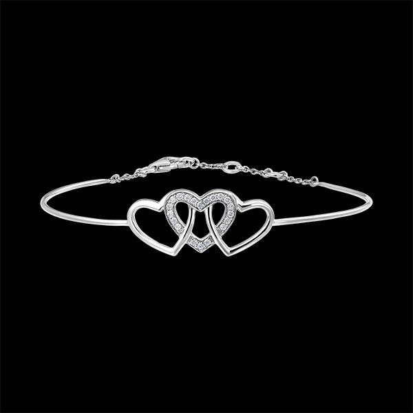 Bracelet Jonc Précieux Secret - Cœurs Entrelacés - or blanc 9 carats et diamants