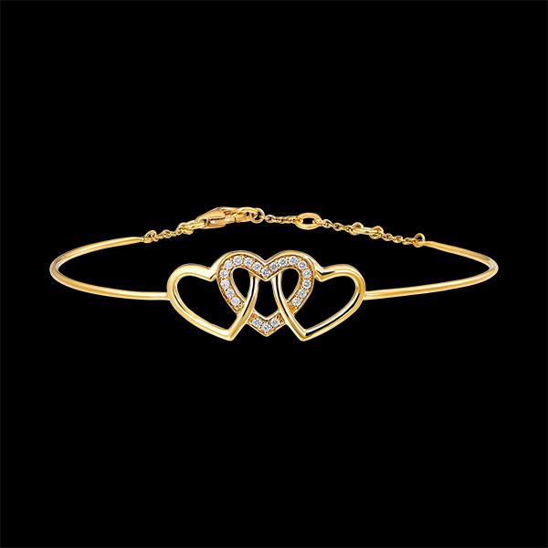Bracelet Jonc Précieux Secret - Cœurs Entrelacés - or jaune 18 carats et diamants