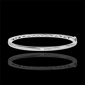 Bracelet Jonc Promesse - or blanc 9 carats et diamants