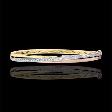 Bracelet Jonc Saturne Diamant - 3 ors - trois ors 9 carats
