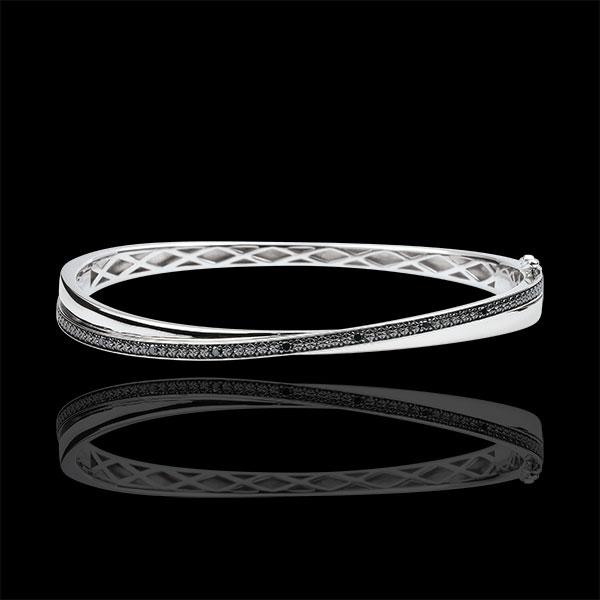 Bracelet Jonc Saturne Duo - diamants noirs - or blanc 18 carats