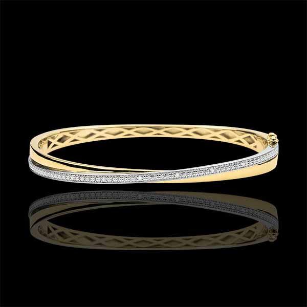Bracelet Jonc Saturne Duo - diamants - or blanc et or jaune 9 carats