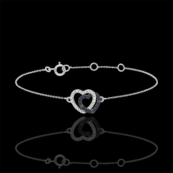 Bracelet or blanc 9 carats diamants blancs et diamants noirs - Coeurs Complices