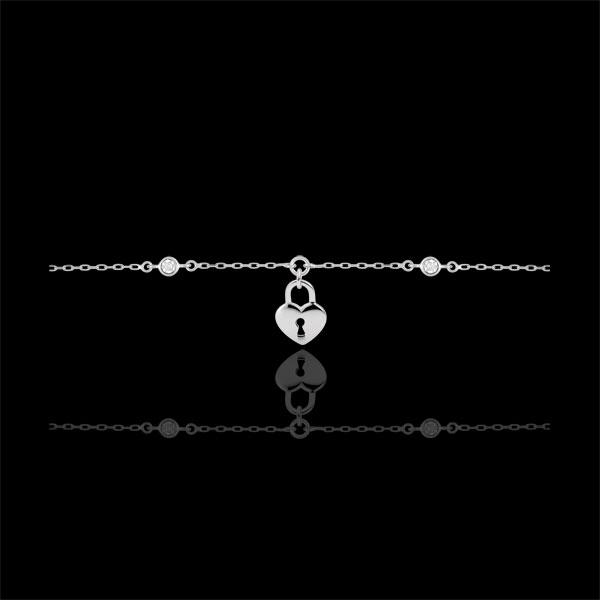 Bracelet Précieux Secret - Coeur - or blanc 9 carats
