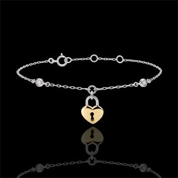 Bracelet Précieux Secret - Coeur - or blanc et or jaune 9 carats
