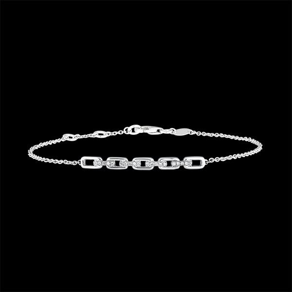 Bracelet Regard d'Orient - Maillon Cubain - or blanc 9 carats et diamants