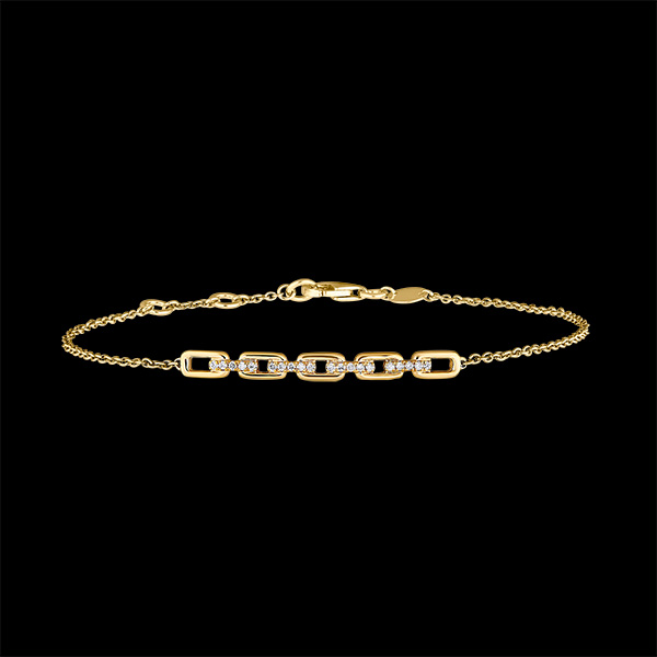 Bracelet Regard d'Orient - Maillon Cubain - or jaune 9 carats et diamants