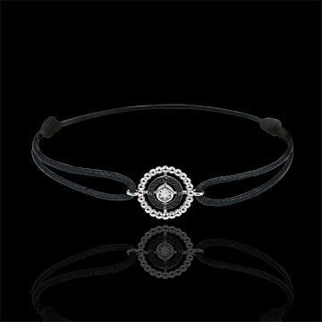 Bracelet Salty Flower - circle - white gold and diamonds - black cord
