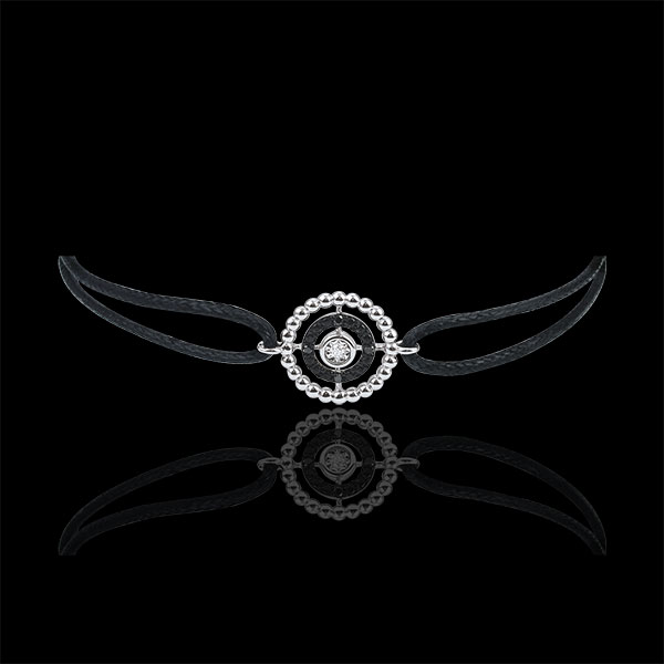 Bracelet Salty Flower - circle - white gold and diamonds - black cord