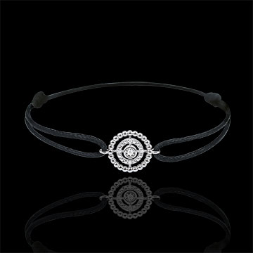 Bracelet Salty Flower - circle - white gold - black cord