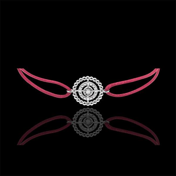 Bracelet Salty Flower - circle - white gold - red cord