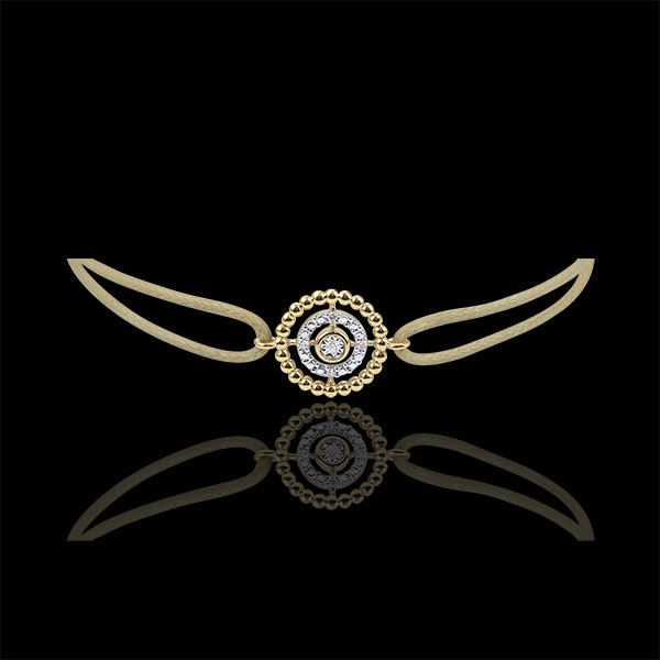 Bracelet Salty Flower - circle - yellow gold - beige cord