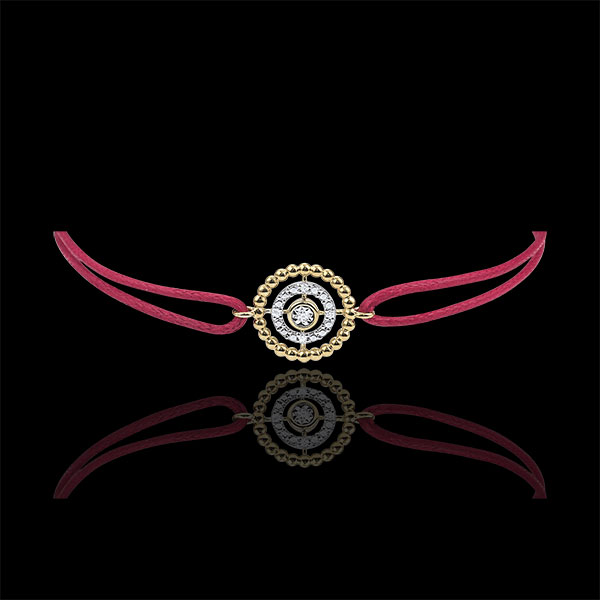 Bracelet Salty Flower - circle - yellow gold - red cord
