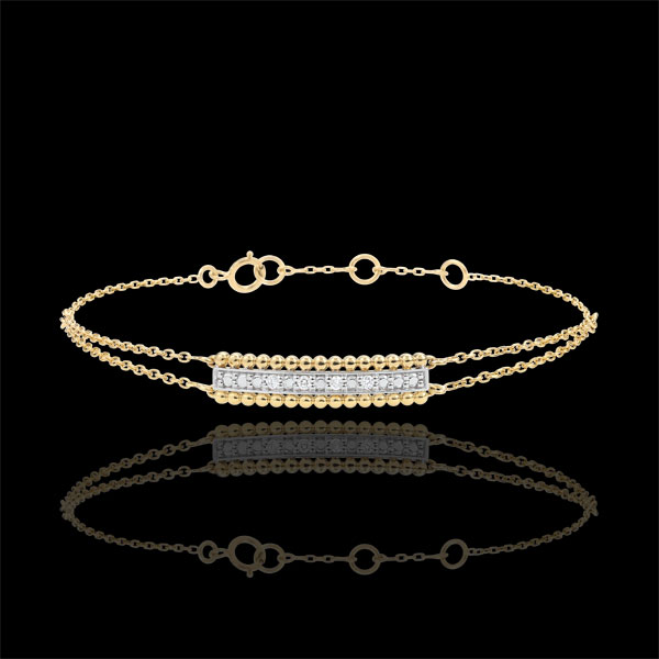 Bracelet Salty Flower - two rings - Yellow Gold - 9 carat