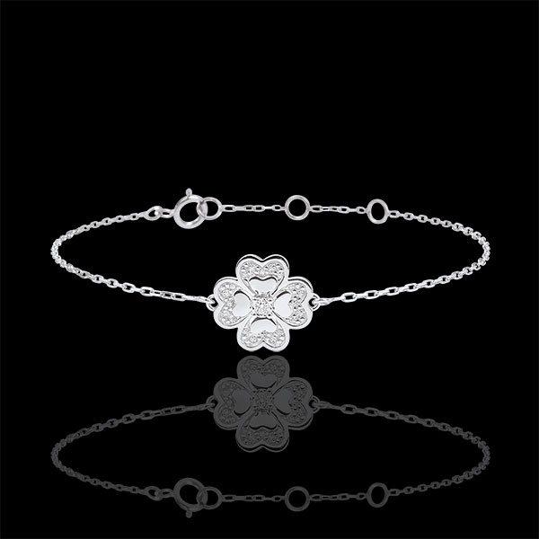 Bracelet Solitair Eclosion - Sparkling Clover - white gold and diamonds