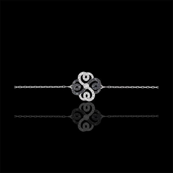 Bracelet Solitaire Fraicheur - Trèfle Arabesque - or blanc 9 carats diamants blancs et diamants noirs