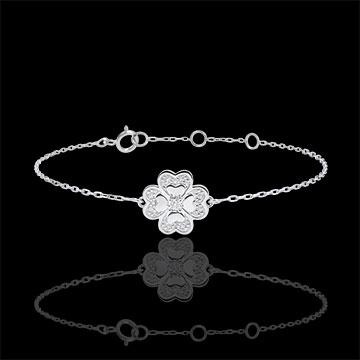 bracelet solitaire fraicheur tr fle tincelant or blanc 9 carats et diamants bijoux edenly. Black Bedroom Furniture Sets. Home Design Ideas