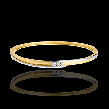 Diamond trilogy bangle/bracelet yellow gold-white gold - 0.24 carat - 3 diamonds