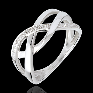 Braided ring white gold paved