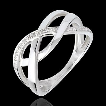 Braidid Ring witgoud met pavézetting - 18 karaat goud