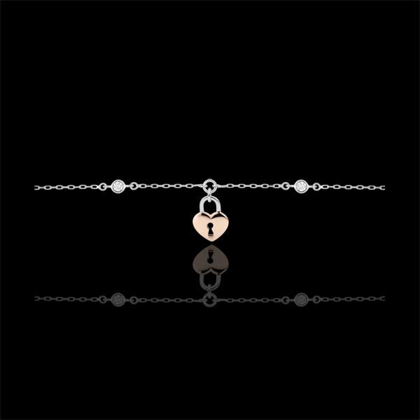 Bransoletka Drogocenny Sekret - Serce - złoto białe i złoto różowe 9-karatowe