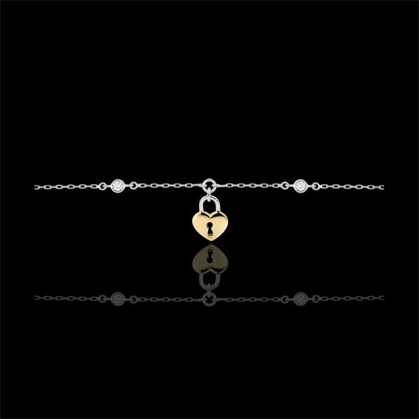 Bransoletka Drogocenny Sekret - Serce - złoto białe i złoto żółte 9-karatowe