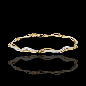 bransoletka Fale Nilu z dwóch rodzajów złota z diamentami - złoto białe i złoto żółte 18-karatowe
