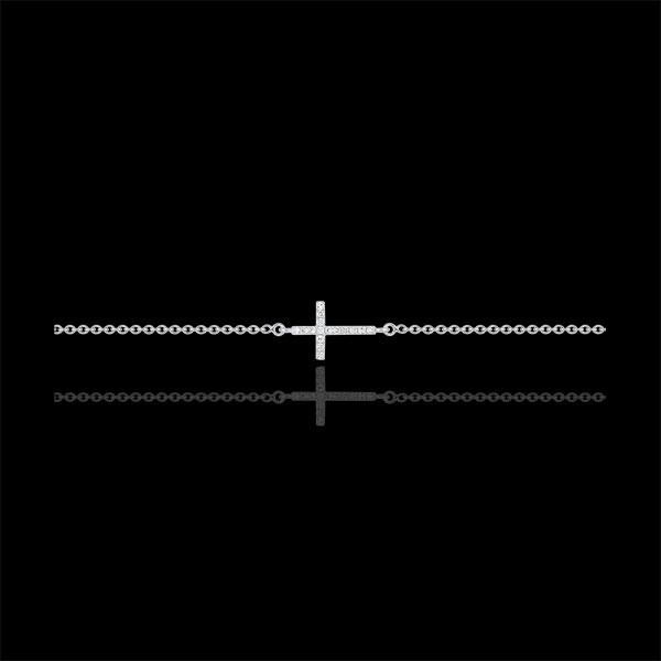 Bransoletka Krzyżyk z białego złota 9-karatowego z diamentami