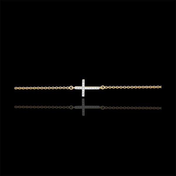 Bransoletka Krzyżyk z żółtego złota 18-karatowego z diamentami