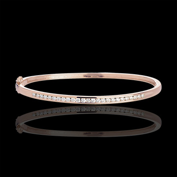 Bransoletka w kształcie koła - złoto żółte i złoto różowe 18-karatowe - 0,75 karata - 25 diamentów