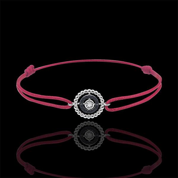 Bransoletka Kwiat Solny - koło - złoto białe 9-karatowe i czarne diamenty - czerwony sznurek