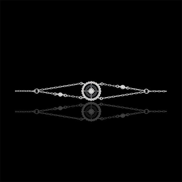 Bransoletka Kwiat Solny - koło - złoto białe 9-karatowe i czarne diamenty