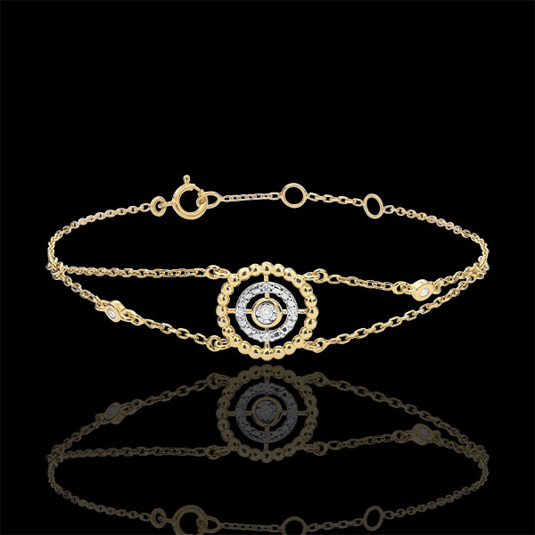 Bransoletka Kwiat Solny - koło - złoto żółte 9-karatowe i diamenty