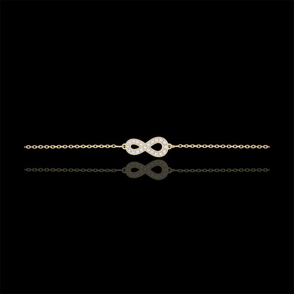 Bransoletka Nieskończoność - złoto żółte 9-karatowe i diamenty