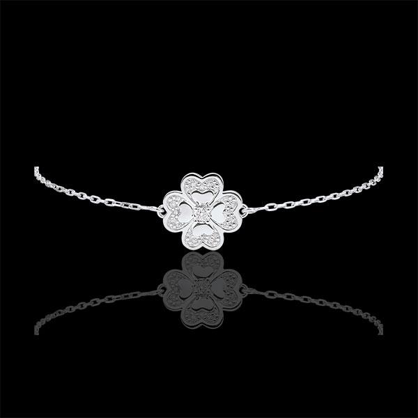 Bransoletka Rozkwit z jednym diamentem - Błyszcząca Koniczyna - złoto białe 9-karatowe i diamenty