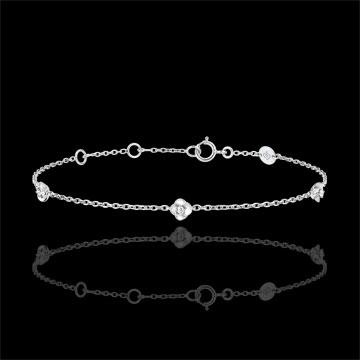 Bransoletka Rozkwit - Różana Korona - diamenty - złoto białe 9-karatowe
