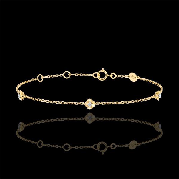 Bransoletka Rozkwit - Różana Korona - diamenty - złoto żółte 9-karatowe