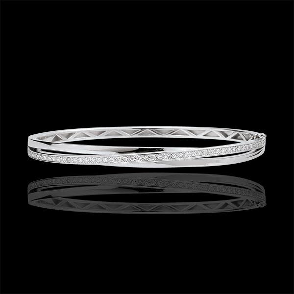 Bransoletka Saturn w kształcie koła z diamentem - złoto białe 9-karatowe