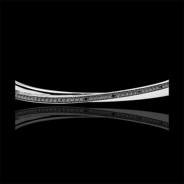 Bransoletka Saturn w kształcie koła podwójna - czarne diamenty - złoto białe 9-karatowe