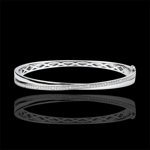 Bransoletka Saturn w kształcie koła podwójna - diamenty - złoto białe 9-karatowe