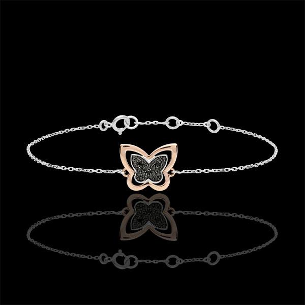 Bransoletka Spacer w Wyobraźni - Księżycowy Motyl - złoto białe i różowe 18-karatowe oraz czarne diamenty