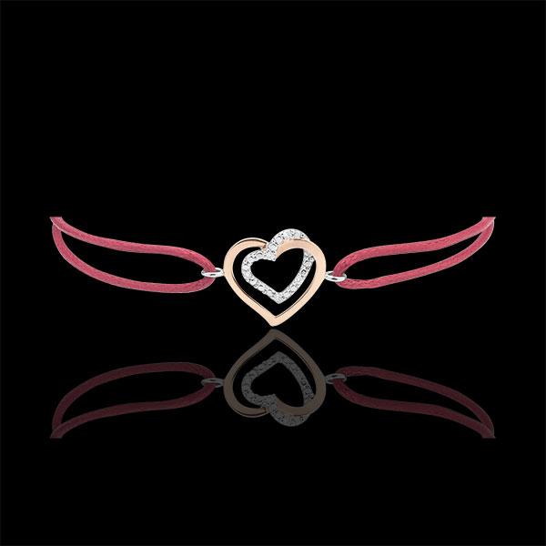 Bransoletka Splecione Serca z diamentami - czerwony sznurek - złoto białe i złoto różowe 9-karatowe