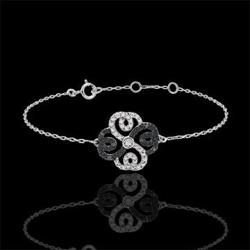Bransoletka Świeżość z jednym diamentem - Koniczyna w Arabeski - złoto białe 9-karatowe, białe diamenty i czarne diamenty