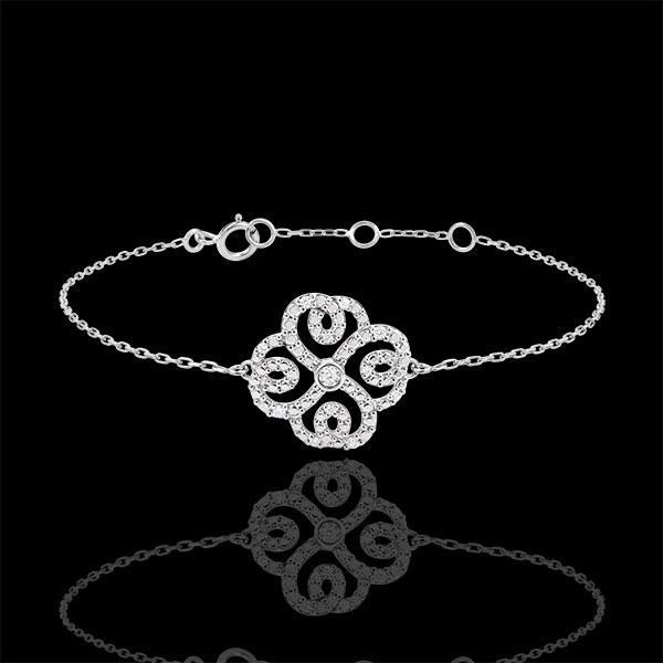 Bransoletka Świeżość z jednym diamentem - Koniczyna w Arabeski - złoto białe 9-karatowe i diamenty