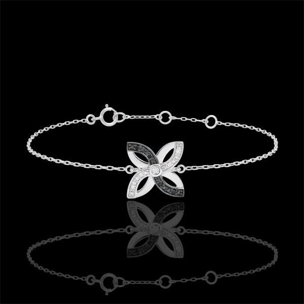 Bransoletka Świeżość - Letnia Lilia - złoto białe 9-karatowe i czarne diamenty