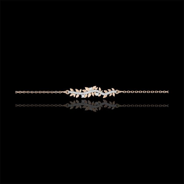 Bransoletka Zaczarowany Ogród - Królewskie Liście - złoto różowe 9-karatowe i diamenty