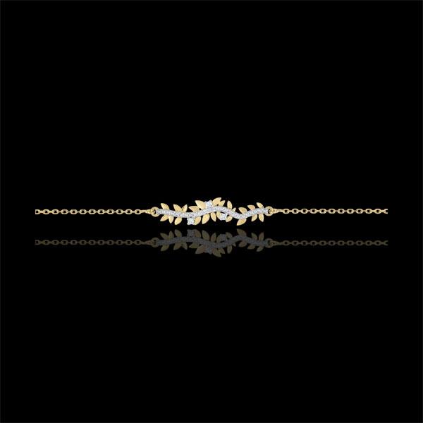 Bransoletka Zaczarowany Ogród - Królewskie Liście - złoto żółte 9-karatowe i diamenty